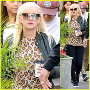 Christina Aguilera Goes to Visit Santa at The Grove!