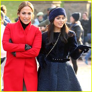 Jennifer Lopez & Vanessa Hudgens Look Chic on 'Second Act' Set