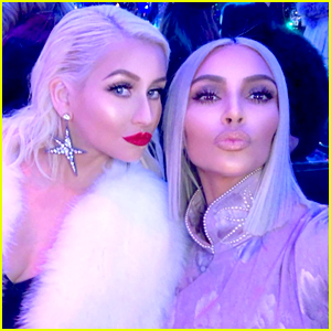 Kim Kardashian Hangs with Christina Aguilera at Christmas Eve Party!