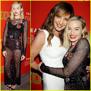 Margot Robbie Wears Sheer & Bejeweled Dress to Neon Holiday Party
