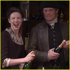 Outlander's Sam Heughan & Caitriona Balfe Send Fans a Christmas Message! (Video)