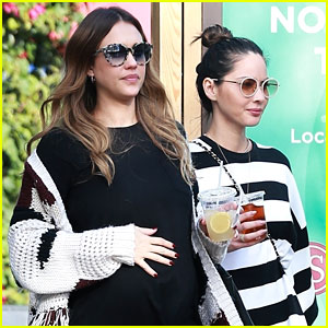 Pregnant Jessica Alba & Olivia Munn Step Out for Stylish Lunch