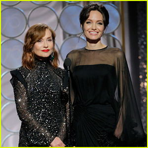 Angelina Jolie Joins Isabelle Huppert to Present at Golden Globes 2018 (Video)