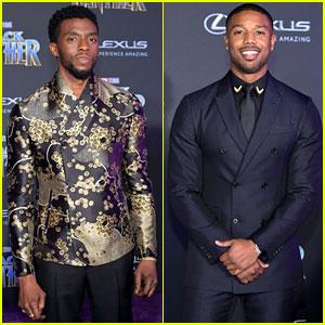 Chadwick Boseman & Michael B. Jordan Look Sharp at 'Black Panther' Premiere