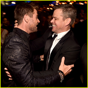 Chris Hemsworth & Matt Damon Bro Out at Amazon's Golden Globes After Party!