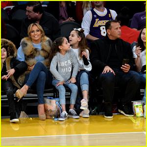 Jennifer Lopez & Alex Rodriguez Take Their Kids to the Lakers Game!