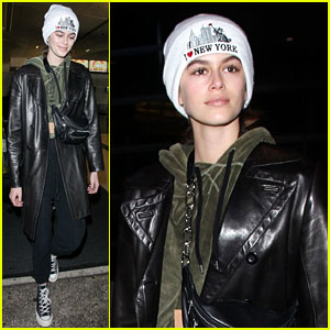 Kaia Gerber Arrives in LA in a New York Beanie After Paris Fashion Week
