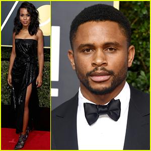 Kerry Washington & Husband Nnamdi Asomugha Walk Golden Globes 2018 Red Carpet Separately