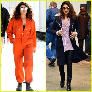 Priyanka Chopra & Marlee Matlin Rock Orange Jumpsuits on 'Quantico' Set