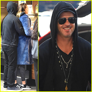 Robin Thicke Flaunts Airport PDA with Pregnant April Love Geary