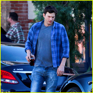 Ashton Kutcher Keeps It Casual in Plaid While Grabbing an Iced Coffee in Hollywood