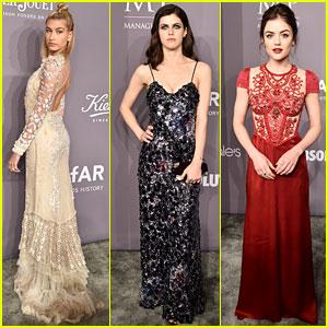 Hailey Baldwin, Alexandra Daddario, & Lucy Hale Get Glam for amfAR Gala 2018