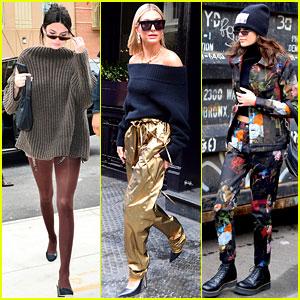 Kendall Jenner, Hailey Baldwin, & Kaia Gerber Show Off Their NYFW Street Styles