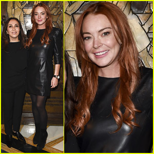Lindsay Lohan Rocks Leather Dress at Zeynep Kartal Fashion Show