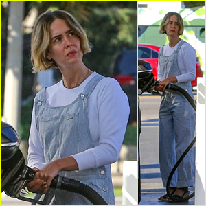 Sarah Paulson Pumps Gas Before Heading Out to Meet Friends!