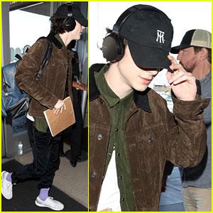 Timothee Chalamet Rocks Purple Socks While Departing LAX