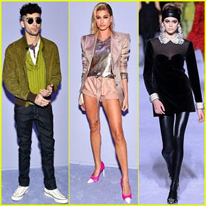 Zayn Malik & Hailey Baldwin Watch Kaia Gerber Walk in Tom Ford Fashion Show