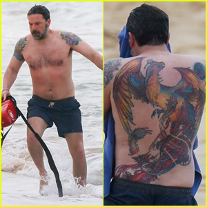 Ben Affleck's Massive Back Tattoo Is Actually Real, Puts Ink on Full Display in Shirtless Photos