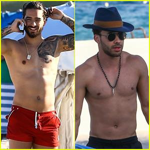 Maluma & Prince Royce Go Shirtless on Vacation in Miami!