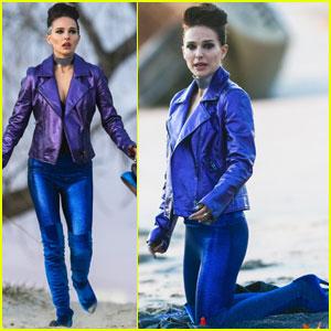 Natalie Portman Gets Metallic on the Beach For 'Vox Lux' Scene