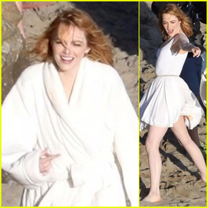 Emma Stone Looks Beautiful While Posing for a Photo Shoot in Malibu!