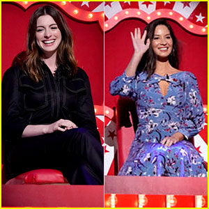 Anne Hathaway & Olivia Munn Face the Dunk Tank for Red Nose Day!