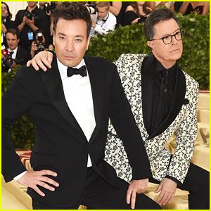 Jimmy Fallon & Stephen Colbert Have Zoolander Moment at Met Gala 2018!