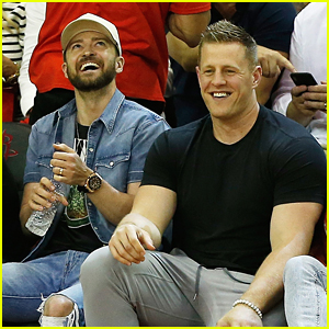 Justin Timberlake Joins JJ Watt Courtside at NBA Playoffs in Houston!