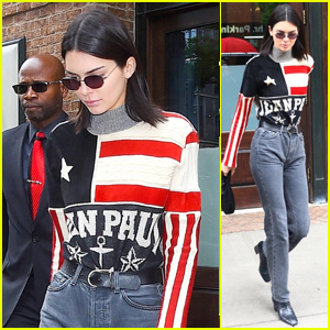 Kendall Jenner Sports Red, White & Blue While Heading Out in NYC