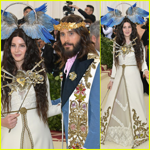 9d8a5a38a11 Lana Del Rey and Jared Leto are bringing the religious glam with their  Gucci looks at the 2018 Met Gala held at the Metropolitan Museum of Art on  Monday ...