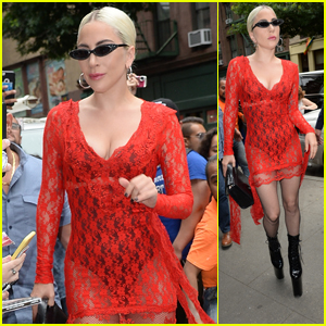 Lady Gaga Looks Hot in a Red Lace Dress While Arriving at the Studio in NYC!