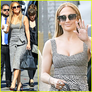 Jennifer Lopez Shows Off Her Curves in Tweed Dress for 'Kimmel' Appearance