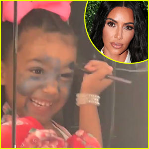 Kim Kardashian Catches North West Putting Eye Shadow All Over Her Face!