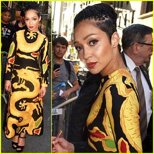 Ruth Negga Wears a Gold Dragon Dress for 'Colbert' Interview