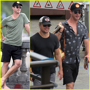 Chris Hemsworth & Matt Damon Vacation with Their Families in Spain!