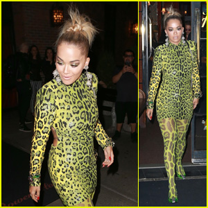 Rita Ora Rocks Neon Green Leopard Print on the Way to MTV VMAs 2018 Kick-Off Concert in NYC!