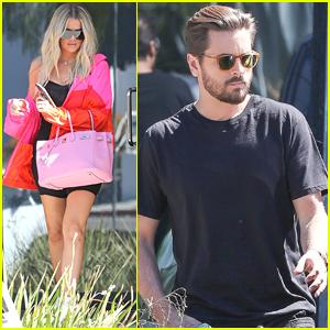 Khloe Kardashian & Scott Disick Spend the Day at Kanye West's Office!