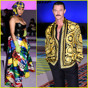 Nicki Minaj & Luke Evans Sit Front Row at 'Versace' Fashion Show