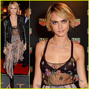 Cara Delevingne Stuns in Sheer Floral Top at TAG Heuer Auction