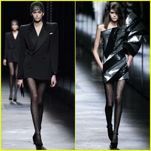 bebcd547d924 Kaia Gerber Goes Glam for Saint Laurent Paris Fashion Show
