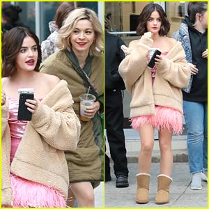 Lucy Hale & Julia Chan Try To Keep Warm on 'Katy Keene' Set in NYC