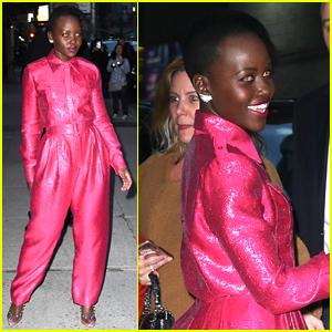 Lupita Nyong'o Pairs Pink Jumpsuit With Orange Eyes for 'Colbert'