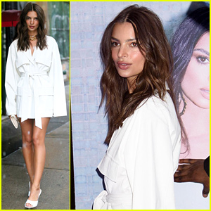 Emily Ratajkowski Pairs White Coat Dress With Gold Necklace at Nasty Gal Collection Launch Dinner