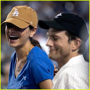 Mila Kunis & Ashton Kutcher Enjoy a Fun Night at Dodgers Game