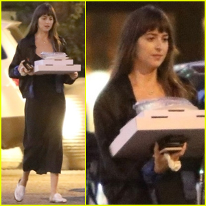 Dakota Johnson Picks Up Pizza for Dinner in Malibu