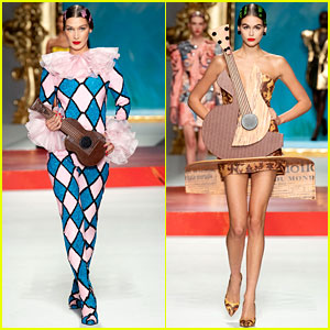 Bella Hadid & Kaia Gerber Wear Musical Outfits for Moschino's Milan Show!