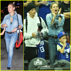 Kate Hudson Cheers On Clippers with Her Sons at Lakers Game!