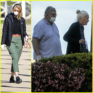 Laura Dern Takes Extra Precautions With a Mask & Gloves While Walking Her Dog with Mom Diane Ladd