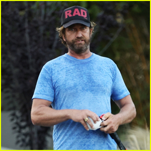 Gerard Butler Works Up a Sweat During Tennis Match!