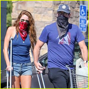 Jon Hamm's Girlfriend Anna Osceola Joins Him at Supermarket, Uses Crutches to Walk